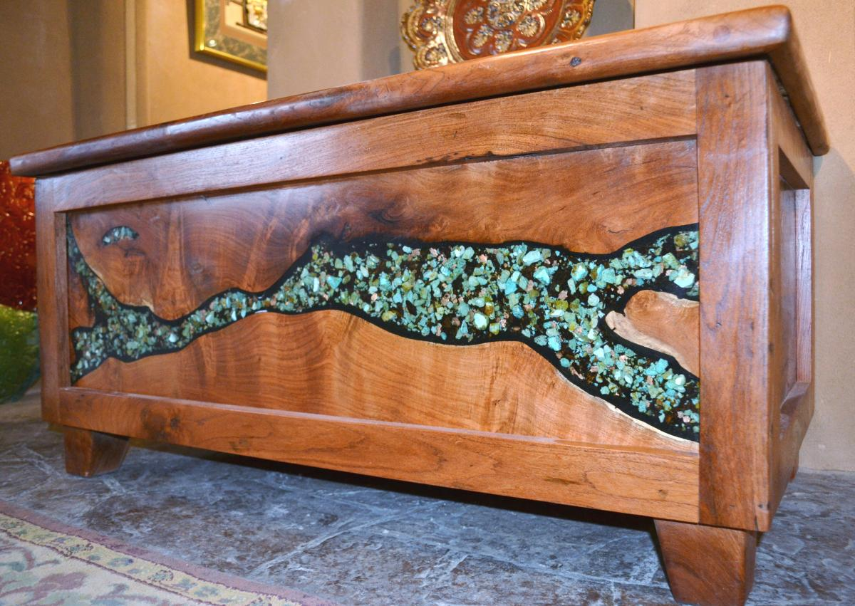 Ordinaire Mesquite Chest Lined With Cedar And Inlaid With Kingman Turquoise