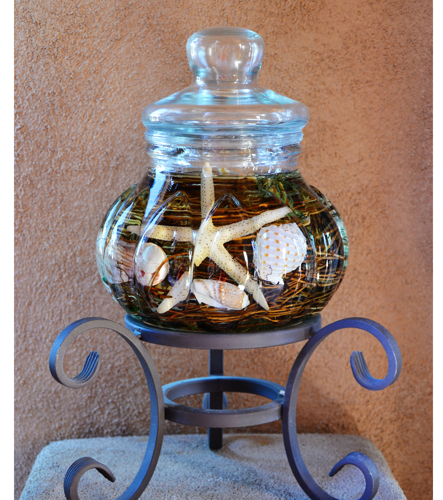 Seashell Centerpiece Oil Candle Turquoise Butterfly