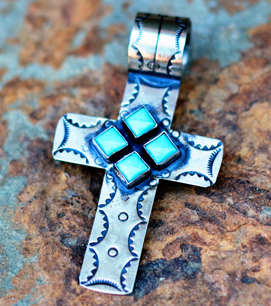 Turquoise and silver cross pendant by rocki gorman turquoise butterfly aloadofball Images
