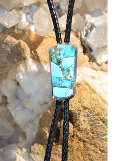 Natural Blue Gem Turquoise Bolo - Turquoise Butterfly