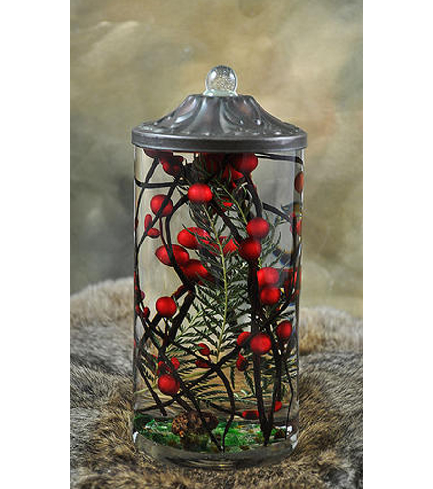 Red berry fern quot cylinder oil candle turquoise butterfly