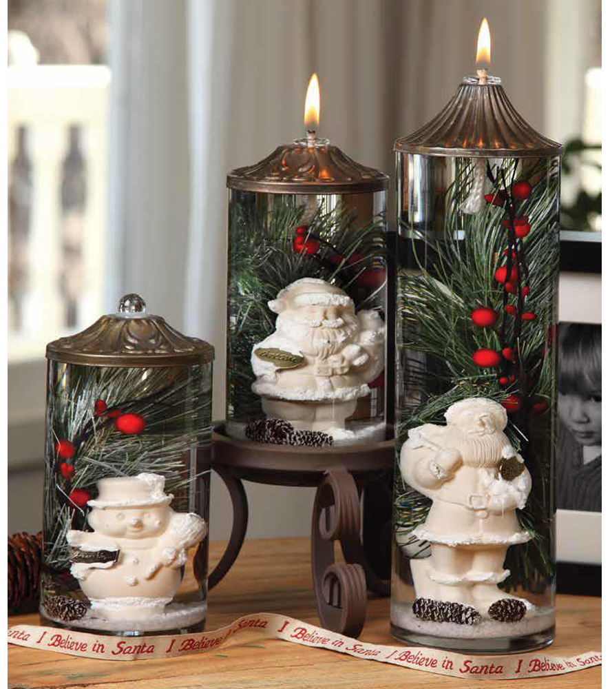 Winter santa quot cylinder oil candle turquoise butterfly