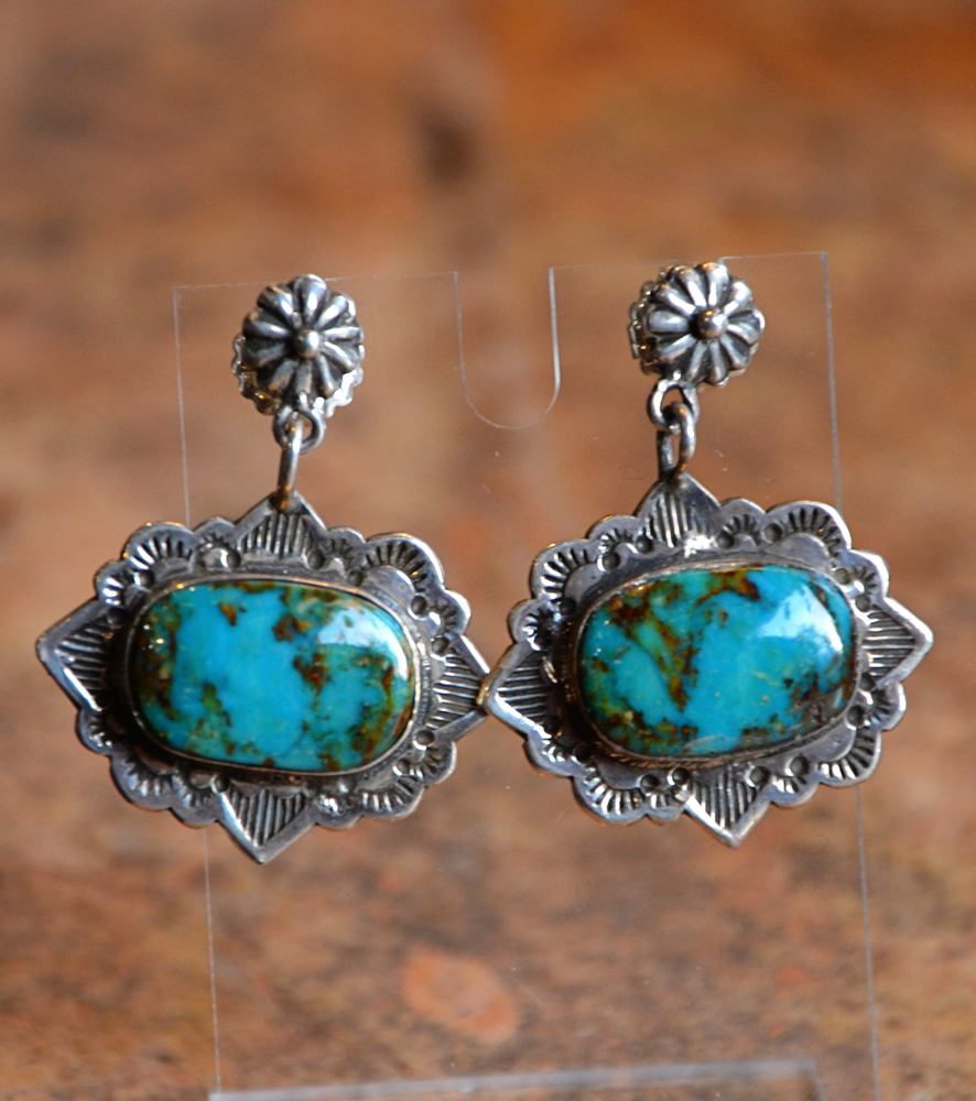 blue drop media aqua vintage small bright enamel earrings