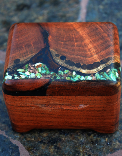 Mesquite box with Kingman turquoise and copper nuggets
