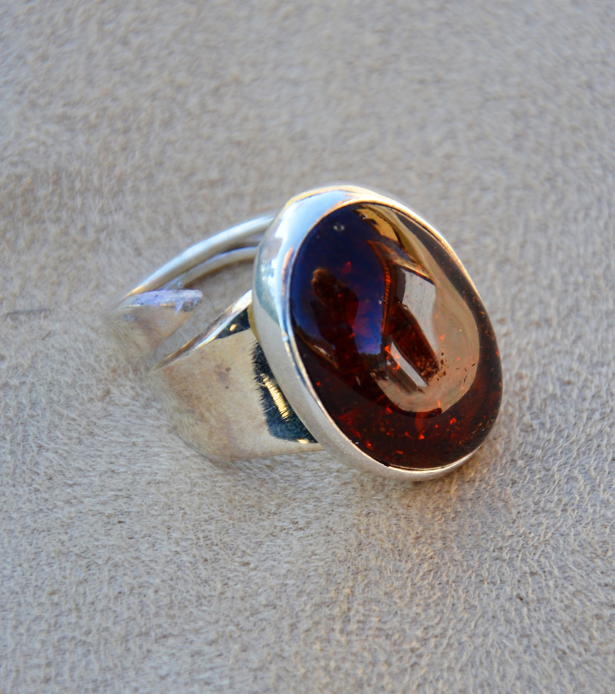 Amber Ring Turquoise Butterfly