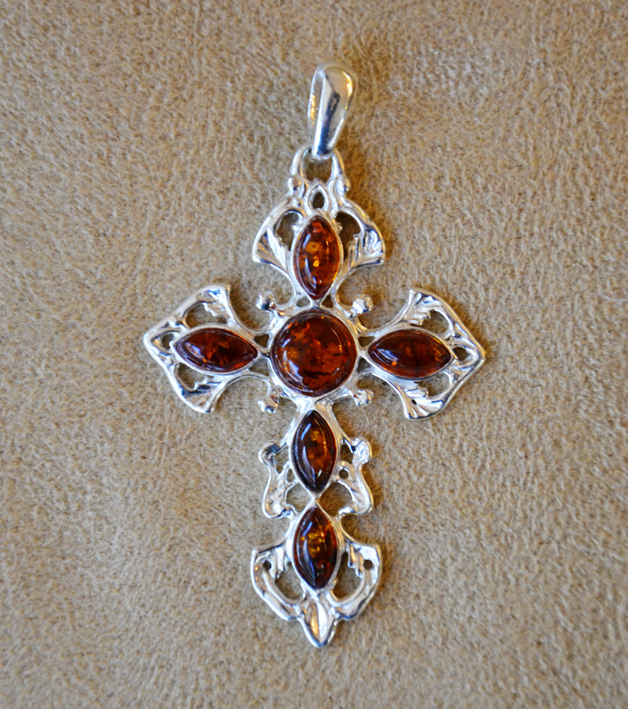 Amber cross pendant turquoise butterfly amber cross pendant mozeypictures Gallery