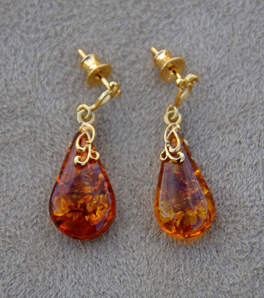 Amber Teardrop Dangle Earrings