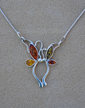 Amber Dragonfly Necklace
