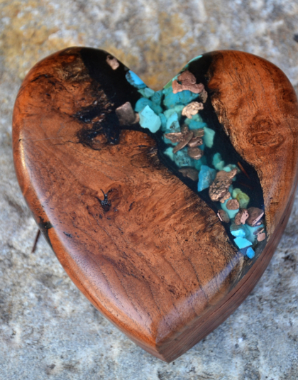 Mesquite Heart Shaped Box with Kingman Turquoise
