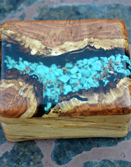 Pecan Wood Box with Kingman Turquoise
