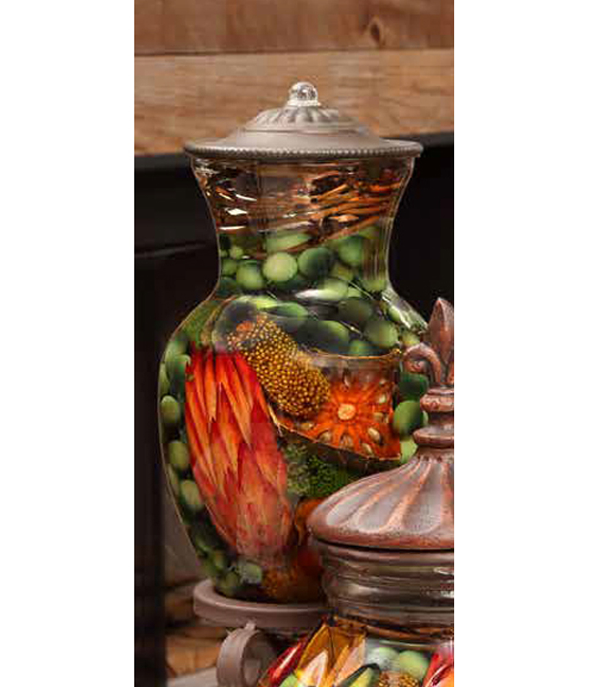 Harvest Ginger Vase Oil Candle Turquoise Butterfly
