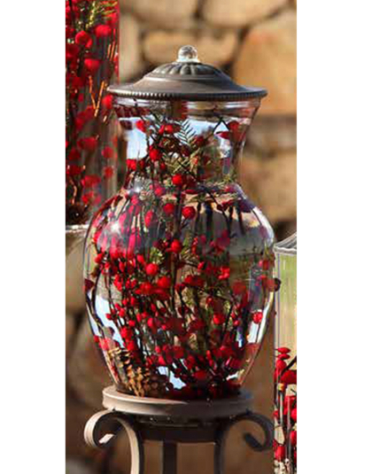 Red Berry Fern Ginger Vase Oil Candle