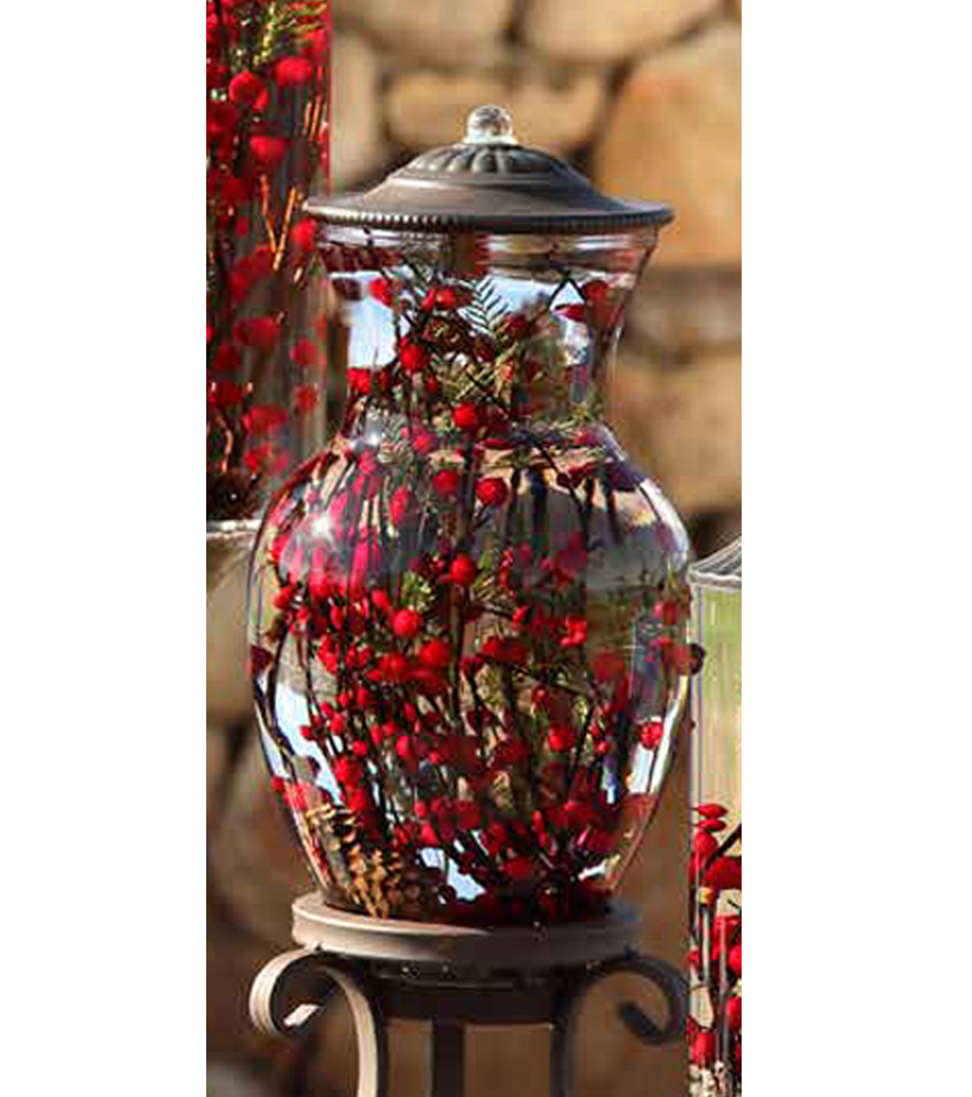 Red berry fern ginger vase oil candle turquoise butterfly