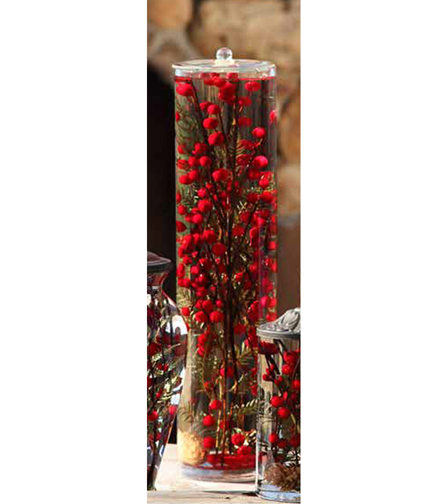 Red berry fern xl cylinder oil candle turquoise butterfly