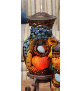 Robin 39 s nest ginger vase oil candle turquoise butterfly for Oil filled candlesticks