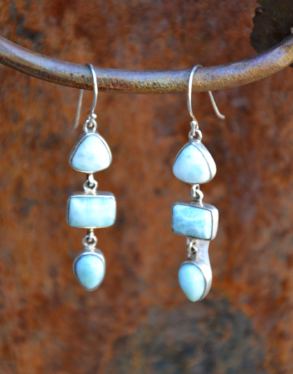 Three Stone Larimar Dangle Earrings