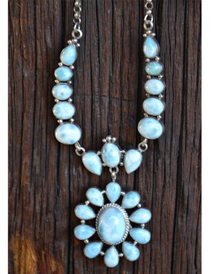 Many Stones Larimar Necklace