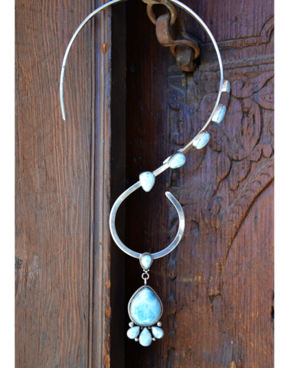 Five Stone Larimar Wired Necklace