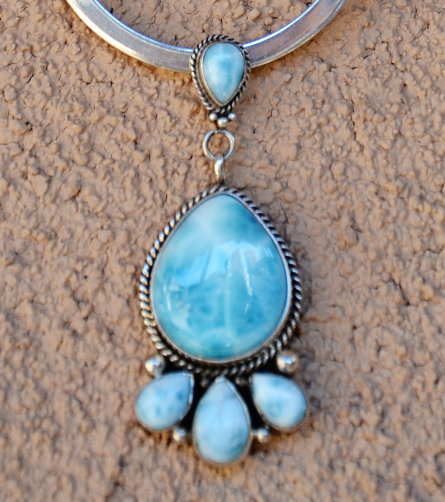 Five stone larimar pendant turquoise butterfly five stone larimar pendant aloadofball Image collections
