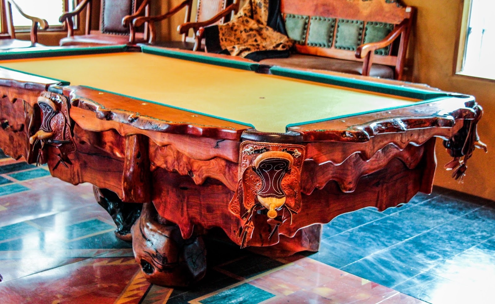 Mesquite Pool Table With Inlaid Kingman Turquoise